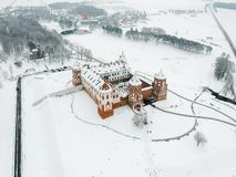 Mir Castle in Belarus. Winter. Drone photo royalty free stock images