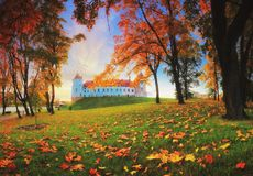 Mir castle complex in autumn evening Stock Image