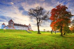 Mir castle complex in autumn evening Royalty Free Stock Images