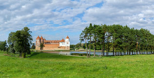 Mir Castle Complex, Belarus. Panorama Stock Photo