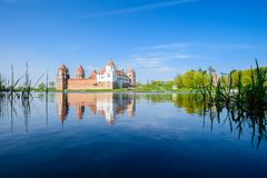 Mir Medieval Castle complex on summer day, historical heritage o royalty free stock images