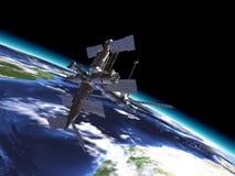 Mir Russian Space Station i omlopp på jorden. royaltyfri illustrationer