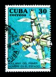 MIR Space Station, 30th Anniversary of the First Man in Space se. MOSCOW, RUSSIA - NOVEMBER 26, 2017: A stamp printed in Cuba shows MIR Space Station, 30th Stock Photos