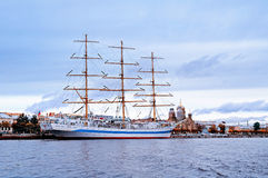 Mir - three-masted  ship on the Neva River in Saint-Petersburg, Russia Royalty Free Stock Photos