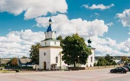 Mir, Wit-Rusland Panorama van Orthodoxe Kerk van de Heilige Drievuldigheid in Mir, Wit-Rusland Stock Foto's