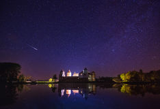 Mir, Wit-Rusland Toneelnachtmening van Mir Castle Complex Royalty-vrije Stock Foto's