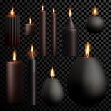 Mira al trasluz el fondo transparente del negro 3D del vector ardiente determinado realista de la llama ilustración del vector