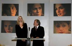 Mira Sorvino and Sid Ganis. BEVERLY HILLS, CALIFORNIA. January 31, 2006. Oscar-winner Mira Sorvino and Academy President Sid Ganis attend the 78th Annual Academy Stock Photos