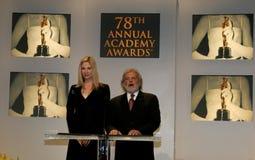 Mira Sorvino and Sid Ganis. BEVERLY HILLS, CALIFORNIA. January 31, 2006. Oscar-winner Mira Sorvino and Academy President Sid Ganis attend the 78th Annual Academy Royalty Free Stock Photo