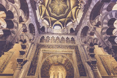 The Mirab at the Mezquita of Cordoba, Spain. The Mezquita also features richly gilded prayer niches. But the Mezquita's most interesting feature is certainly the Royalty Free Stock Photos