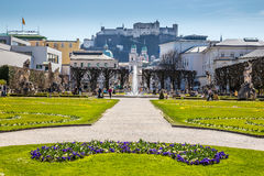 Mirabell Garden and Hohensalzburg-Salzburg,Austria Stock Photography