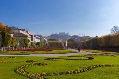 Mirabell Garden with Hohensalzburg in Salzburg, Austria Royalty Free Stock Photo