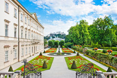 Mirabell Gardens with Mirabell Palace in Salzburg, Austria stock photo