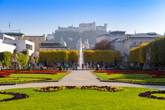Mirabell Palace with Hohensalzburg in Salzburg, Austria Stock Photography