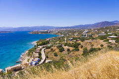Mirabello bay and Agios Nikolaos view in Crete island Royalty Free Stock Photos