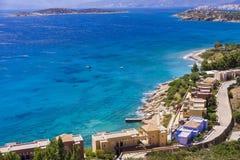 Mirabello bay near Agios Nikolaos in Crete island, Greece. View at Mirabello bay near Agios Nikolaos in Crete island, Greece Royalty Free Stock Photography