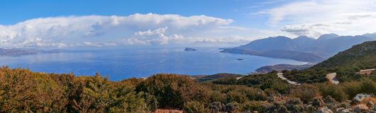 Mirabello Bay. Panoramic view of Mirabello Bay in Crete, Greece Royalty Free Stock Image