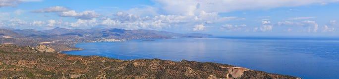 Mirabello Bay. Panoramic view of Mirabello Bay in Crete, Greece Royalty Free Stock Photo