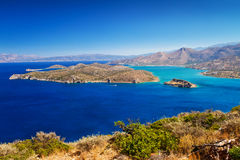 Mirabello bay with Spinalonga island. On Crete, Greece Royalty Free Stock Photography