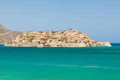 Mirabello Bay view with Spinalonga island on Crete Royalty Free Stock Photo