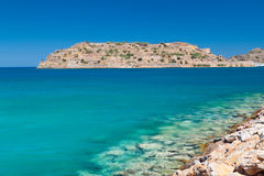 Mirabello Bay view with Spinalonga island on Crete Stock Photo
