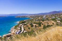 Mirabello zatoka i Agios Nikolaos widok w Crete wyspie Zdjęcia Royalty Free