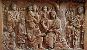 Miracle attributed to Jesus. The Feeding of the five thousand people royalty free stock image