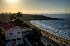 Miracle beach and Tarragona city in sunrise light, Spain Royalty Free Stock Photo