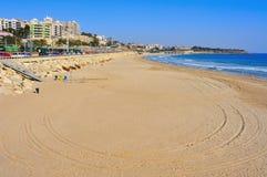 Miracle Beach in Tarragona, Spain. Miracle Beach and panoramic view of Tarragona, Spain Stock Image