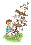 Miracle. Birds fly from the book Royalty Free Stock Photo