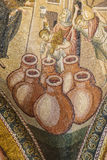 Miracle of Cana, water into wine. ISTANBUL, TURKEY - MAY 15, 2014 -Miracle of Cana, water into wine,  mosaic,  Outer Narthex, Chora Church (Kariye Museum) in Royalty Free Stock Images