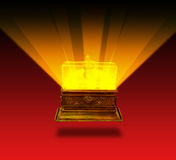 Miracle chest. Soar over red background stock images