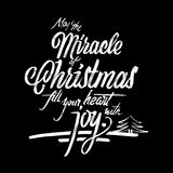 Miracle of Christmas postcard phrase. Handmade typographic lettering. Calligraphic Vector Sketch Royalty Free Stock Photo