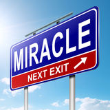 Miracle concept. Illustration depicting a roadsign with a miracle concept. Sky background Stock Photos