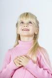 Miracle de attente de petite fille towhead mignonne Images libres de droits