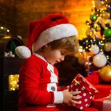 It is miracle. Family holiday. Boy cute child cheerful mood play near christmas tree. Merry and bright christmas. Santa. Boy little child celebrate christmas at royalty free stock images