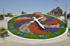 Miracle Garden,Dubai. A clock at the Miracle Garden, Dubai royalty free stock image