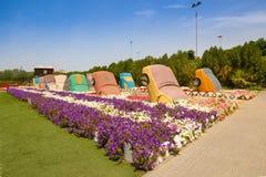 Miracle garden. DUBAI, UAE - MARCH 28: Cars in Dubai Miracle Garden in the UAE on March 28, 2015. It has over 45 million flowers royalty free stock image
