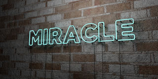 MIRACLE - Glowing Neon Sign on stonework wall - 3D rendered royalty free stock illustration Royalty Free Stock Photos
