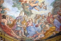 Miracle of Multiplication. The fresco of The Miracle of Multiplication on the main apse of Basilica di Sant Andrea delle Fratte, Rome, Italy Stock Photos