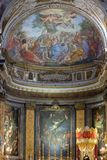 Miracle of Multiplication. The fresco of The Miracle of Multiplication on the main apse of Basilica di Sant Andrea delle Fratte, Rome, Italy Stock Photo