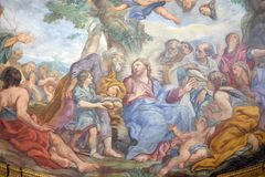 Miracle of Multiplication. The fresco of The Miracle of Multiplication on the main apse of Basilica di Sant Andrea delle Fratte, Rome, Italy Royalty Free Stock Image