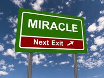 Miracle next exit sign. Miracle next exit road with with arrow, blue sky and cloudscape background stock images