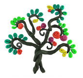 Miracle tree. Miracle story isolated plasticine tree Royalty Free Stock Photo