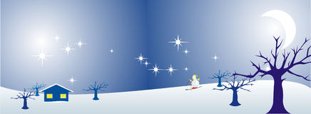 Miracle winter. A vector illustration of the winter starry night at the forest with snowman skiing to the house on the hill Royalty Free Stock Image