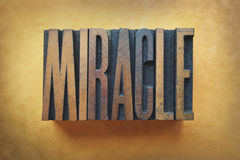 Miracle. The word MIRACLE written in vintage letterpress type Royalty Free Stock Photography