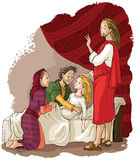 Miracles of Jesus. Raising of Jairus daughter Royalty Free Stock Image