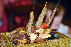 Miracles Lebanese kitchens. Meat on the grill Royalty Free Stock Photography