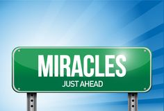 Miracles road sign illustration design over a sky Royalty Free Stock Photos