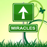Miracles Sign Means Placard Message And Arrow Stock Photo
